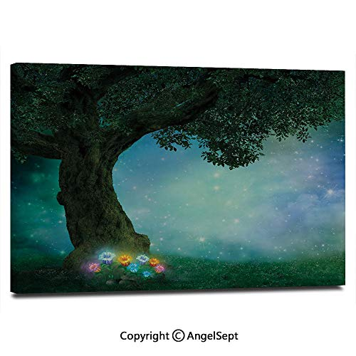 Modern Salon Theme Mural Fairytale Little Red Riding Hood Forest at Night with Flowers and Stars Image Painting Canvas Wall Art for Home Decor 24x36inches, -