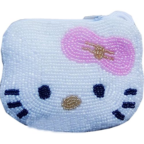 E.a@market Cute Hello Kitty Change Purse Pure Manual Beaded Coin Purse