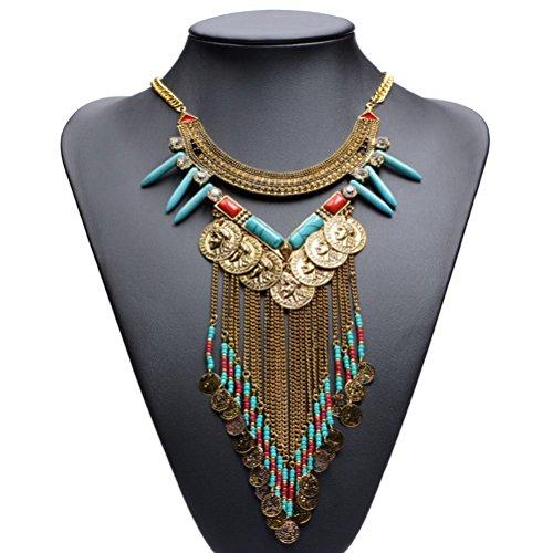 Statemet Necklace SUMAJU Long Boho Gemstone Fringe Chain Coins Beads Collar Necklace Pendant Golden Tone - Fringe Chain