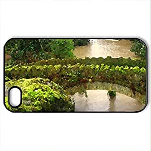 The Green Bridge - Case Cover for iPhone 4 and 4s (Bridges Series, Watercolor style, Black)