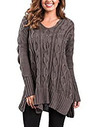 Women Casual V Neck Loose Fit Knit Sweater Pullover Top