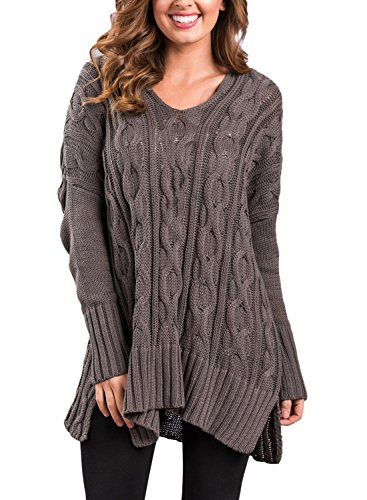 Sidefeel Women Casual V Neck Loose Fit Knit Sweater Pullover Top Large Brown