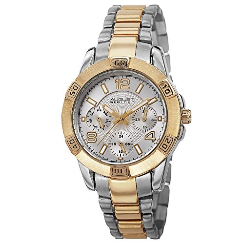 August Steiner Women's AS8143TTG Quartz Silver and Yellow Gold Quartz Watch with Silver Dial and Two Tone Gold Bracelet