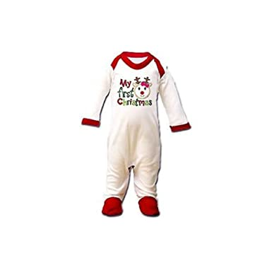 82b6c719e278e My First Christmas Baby Boy Girl Babygro 0-3 Months Novelty Outfit Reindeer  Suit  Amazon.co.uk  Clothing