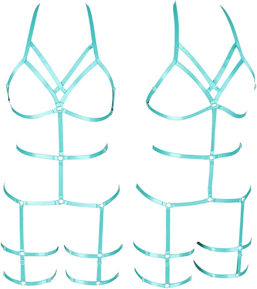 PETMHS Womens Punk Cut Out Harness Body Lingerie Full Strappy Set Dance Rave Wear