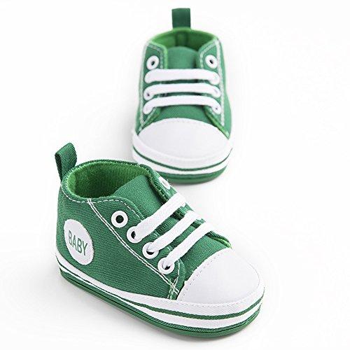 WYSBAOSHU Süße Baby-Leinwand-Turnschuh Anti Skid Weicher Netter Trainer Schuhe 3-18M Grün