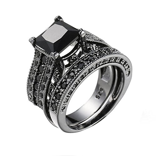 Haluoo 925 Sterling Silver Wedding Rings 2 Pcs Square Engagement Ring Set Black Cubic Zirconia Simulated Diamond Anniversary Promise Rings Bridal Sets (7, Black)