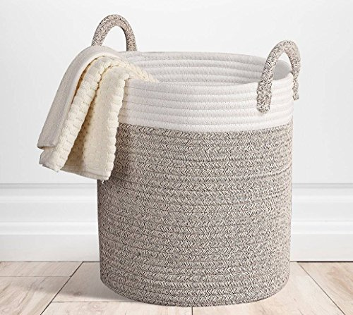 """YOSIL 15""""x 13"""" Storage Baskets Large Terracotta Woven Basket Cotton Rope Decorative Baskets for Towel Laundry - Gray"""