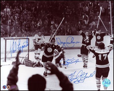 Autographed Esposito Boston Bruins Multi-16 x 20 Ot Goal Photo - Autographed NHL Photos