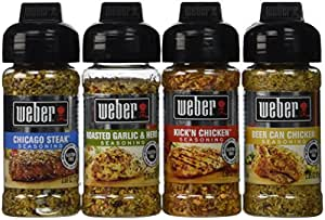 Weber Seasoning Variety 4 Flavor Pack 2.5-2.75 Ounce (Chicago Steak, Roasted Garlic and Herb, Kick'n Chicken, Beer Can Chicken)
