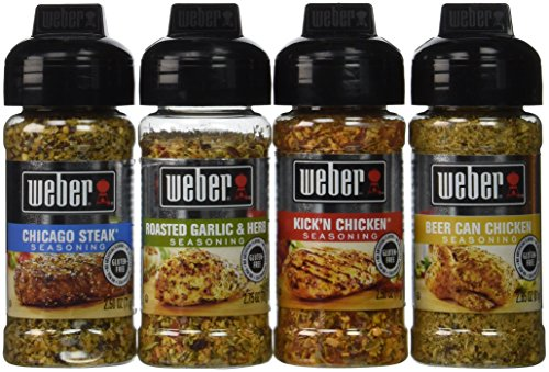 Weber Seasoning Variety 4 Flavor Pack 2.5-2.75 Ounce (Chicago Steak, Roasted Garlic and Herb, Kick'n Chicken, Beer Can Chicken) (Garlic Beer)