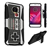 Cheap Moto Z2 Play Case, Moto Z2 Force Case, DuroCase Hybrid Dual Layer Combat Style Kickstand Case w/ Holster for Motorola Moto Z2 Play / Moto Z2 Force Edition – (Game Controller)