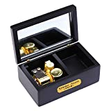 YouTang(TM) 18 Note Wind-up Wooden Musical Box with Mirror, Gold Musical Movement, Model M33