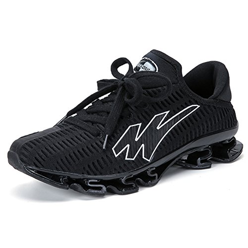 Gomnear Running Shoes Men Breathable Lace-up Casual Fashion Sneakers Athletic Sports Shoes,Black white-48