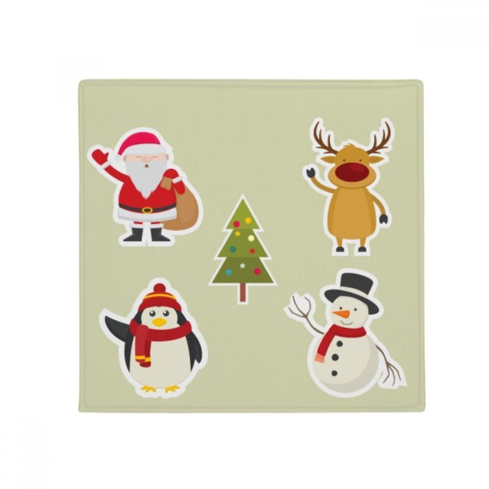 DIYthinker Merry Christmas Snowman Festival Illustration Anti-Slip Floor Pet Mat Square Home Kitchen Door 80Cm Gift