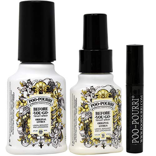 Poo-Pourri Before-You-Go Toilet Spray Set, Included 1.4-Ounce, Bottle, Original Scent , 2 -Ounce, Bottle, Original Scent, and Tester