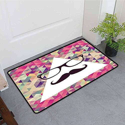 ONECUTE Outside Doormat,Geometric Hipster Mustache and Glasses White Triangle Mosaic Background Funny Art Print,for Outdoor and Indoor,31