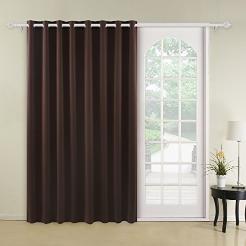 Chocolate Window - Deconovo Blackout Drape Wide Width Grommet Curtains Bedroom Curtains for Windows 100 x 84 Inch Chocolate 1 Panel