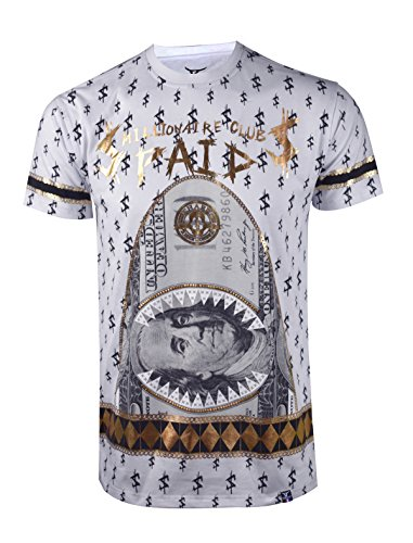 - SCREENSHOTBRAND-S11845 Mens Hipster Hip-Hop Premium Tees - New York Latest Fashion Money Paid Gold Foil Print Shirt -White-Medium