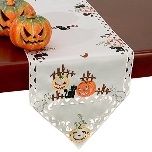 Grelucgo Halloween Table Runner, Embroidered Cats and Pumpkins