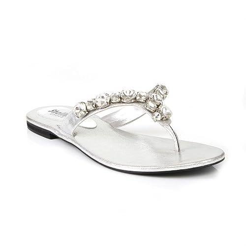 Zapatillas Planas de Noche para Mujer, con Puntera Abierta, Tallas 3 a 8, Color Plateado, Talla 37: Amazon.es: Zapatos y complementos