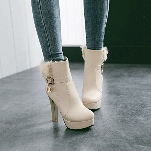 Mee Shoes Damen high heels Plateau Reißverschluss Stiefel Aprikose