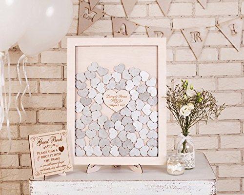 54 careymaud Personalisierte Hochzeit Gästebuch Drop Top Box, Herz aus Holz Gästebuch 30 x 35 cm mit 120 PCS Holz Herzen