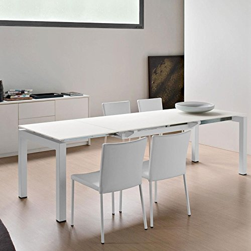 """""""Airport"""" metal Optic White extending dining table by Calligaris."""