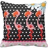 Flamingo Polka Dot Daisy Throw Pillow case 24*24