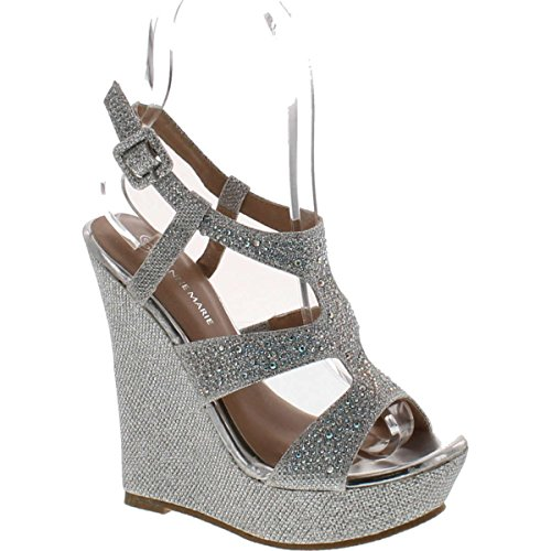 V-Luxury Anne Marie Womens 40-Kendra1 Open Toe High Heel Wedge Platform Sandal Shoes,Silver,5.5