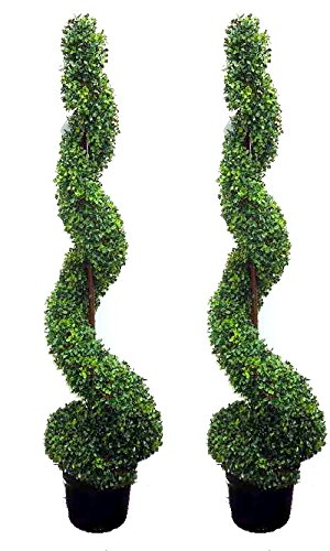 Admired By Nature 5' Plastic Pot 2' x 5' Artificial Spiral Boxwood Topiary Plant Tree, Twin Pack