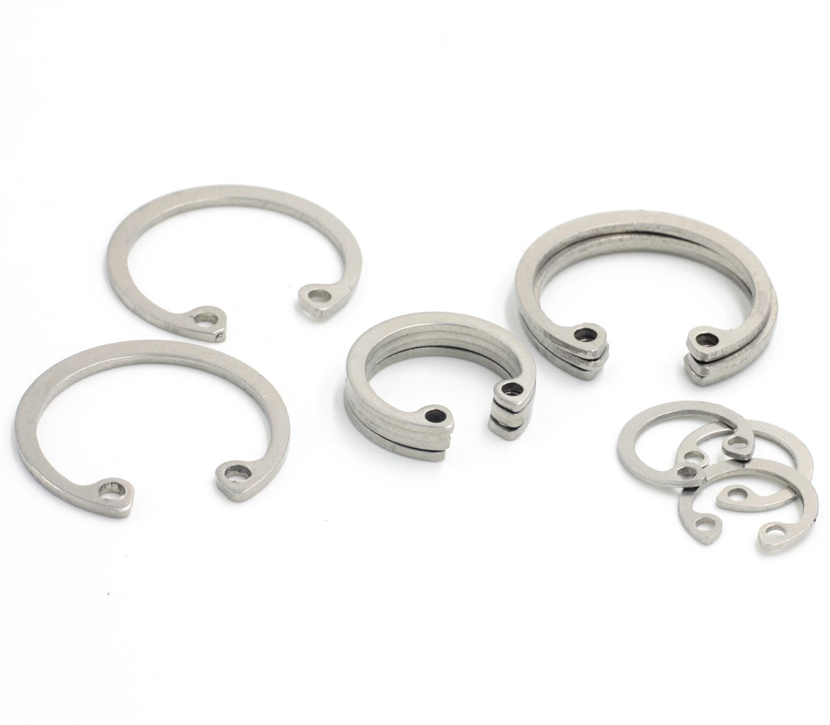 Retaining Rings for Bores,Internal Retaining Rings Circlip Assortment Kit,C-Clip,Stainless Steel,270 Piece
