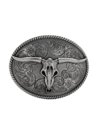 TFJ Men Fashion Belt Buckle Western Metal Bull Skull Texas Long Horns Cow Dark Silver