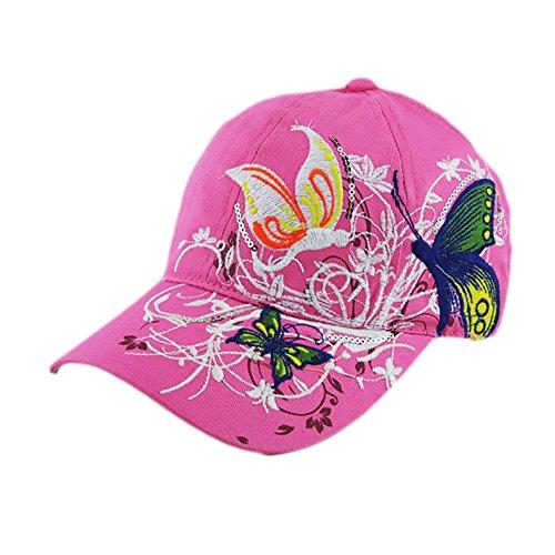 Lightweight Butterfly & Flowers Embroidered Women Adjustable Baseball Cap Sun Hat, 100% Cotton (Pink)