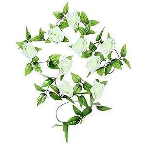 BYEEE Artificial Flowers 1x8Ft Artificial Silk Rose Flower Ivy Vine Leaf Garland Wedding Party Garlands (Whiteღ, 2.5m) 2