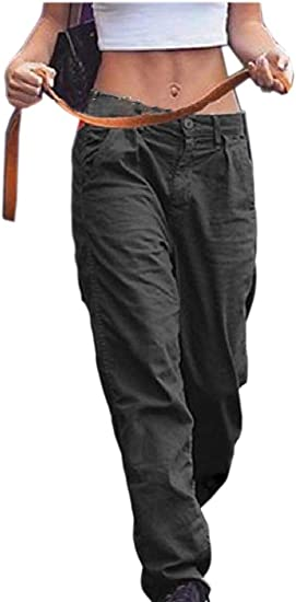 gawaga 女性ストレートレッグポケットファッションソリッドハイウエストパンツ