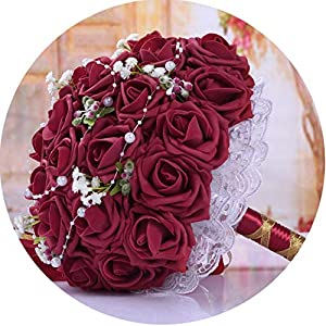 Burgundy Red Wedding Bouquets Handmade Bridal Flowers Wedding Party Gifts Wedding Accessories Rose Bouquet 66