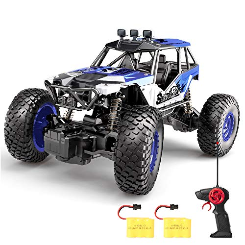 SPESXFUN Remote Control Car, 2018 Newest Vision 2.4 GHz RC Car Off Road RC Truck Hobby Toy Cars Small Electric Vehicle Crawler for Kids and Adults with Two Batteries
