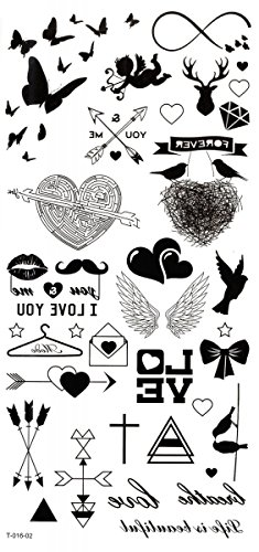 New design and hot selling Butterflies,hearts,arrows,cupid,wings,I LOVE YOU,wings realistic and fake temp tattoo (Heart & Butterfly Tattoos)