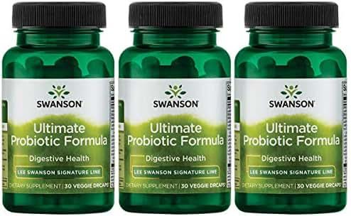 Swanson Ultimate Probiotic Formula Digestive Health Immune System Support 66 Billion CFU Prebiotic NutraFlora scFOS 30 DRcaps Veggie Capsules (Caps) (3 Pack)