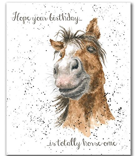 Wrendale Designs Horse Happy Birthday Card By Hannah Dale Chestnut