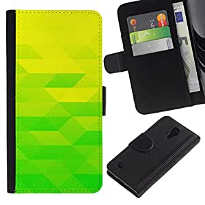 All Phone Most Case / Oferta Especial Cáscara Funda de cuero Monedero Cubierta de proteccion Caso / Wallet Case for Samsung Galaxy S4 IV I9500 // Yellow Lime Green