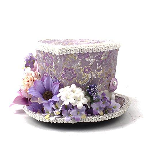 Las La En País Y Morado Púrpura Loco Boda Flores Kentucky Derby Té Flor Copa D Mini Con Sombrero De El Crema Maravillas Sombrerero Alicia Fiesta aPBxw6vTq