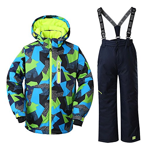 WOWULOVELY Boys Ski Jacket + Pants Snow Insulated Suit Windproof & Waterproof, 14, Multicolor