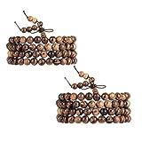 EVBEA 2PCS 6mm 8mm Buddha Bracelet Necklace Prayer Beads Rosary Wood Bracelets for Men (8mm bead)