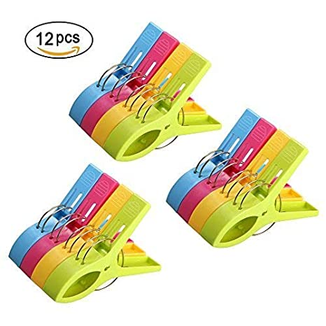 URAQT 12 pcs Grandes Playa Toalla Clips Pinzas de Plástico Fuerte, Durable Resistente Clips,