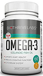 Bio Thrive Labs Omega-3. Fresh Icelandic Deep Fish Oil (30-Day Supply) Burpless Pills - With Lemon Oil