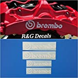 R&G Brembo 6 Piston & 4 piston High Temp Brake Caliper Decal Sticker Set of 4 (White)
