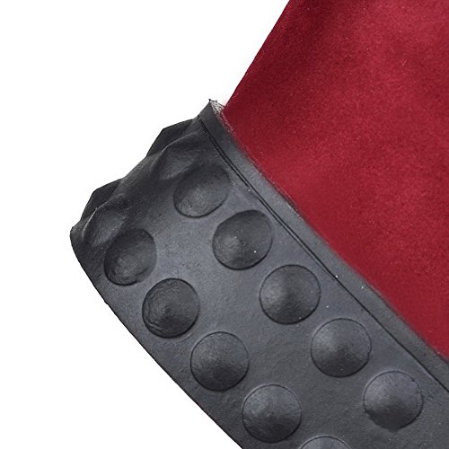 Round Top Solid Low Closed Boots Polish Kitten Allhqfashion Women's Toe Heels Red Dull qFfxBH