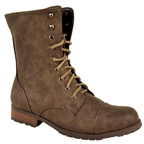 Style Faux Heel Combat Boots Military Ankle Army Flat Thirsty Fashion Biker Size Lace Leather Womens Low Up Brown waxPtgqv